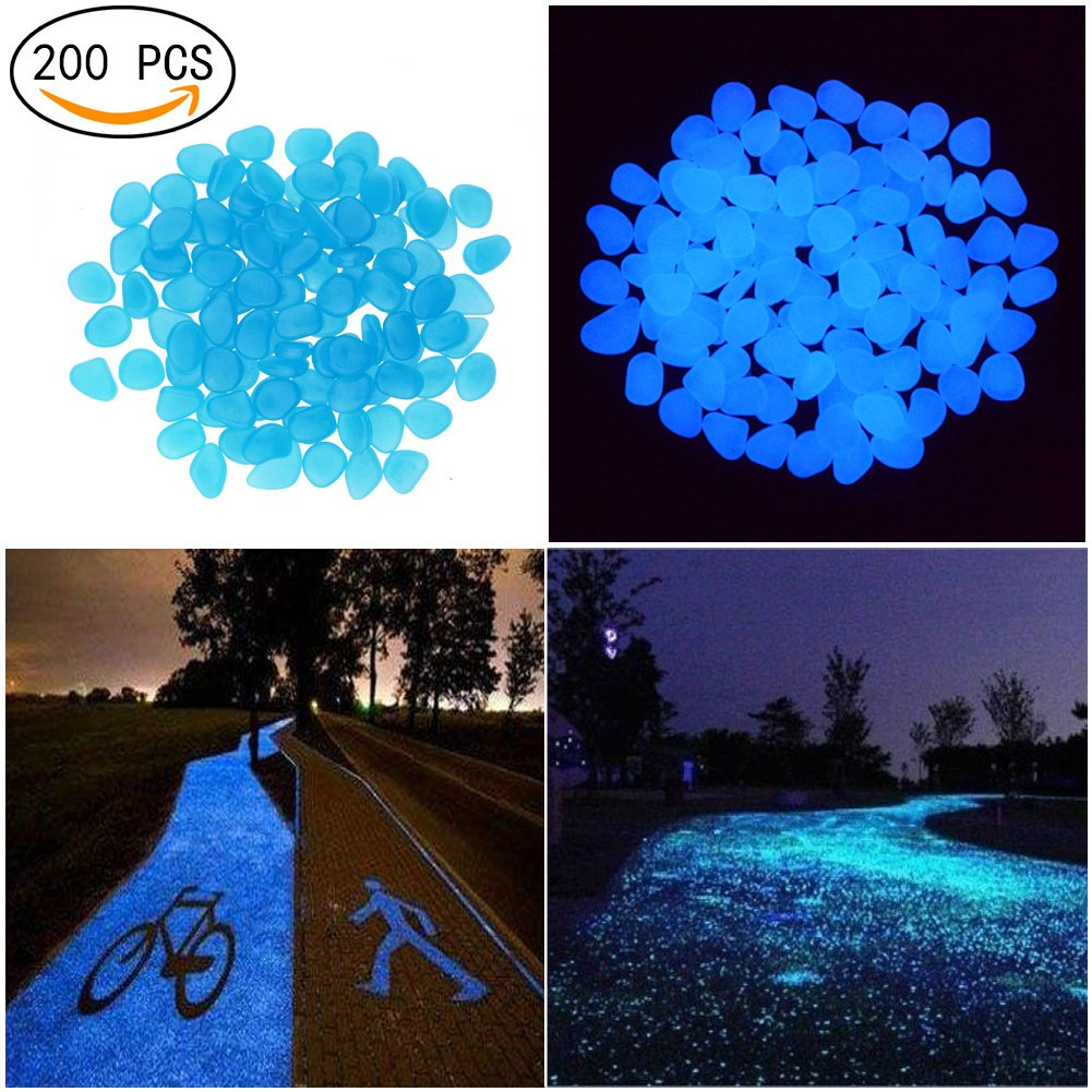 Candora® Decorative Stones 200pcs Man-made Luminous Cobblestone Glow in the Dark Pebbles Stone for Garden Walkway Outdoor Fish Tank (Blue)
