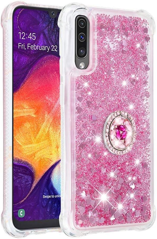 FAWUMAN Funda Samsung Galaxy A50/A505/A30S/A50S TPU Silicona Purpurina Carcasa,Funda para teléfono móvil de Arena movediza líquida en Forma de corazón con Base de Anillo de Diamantes