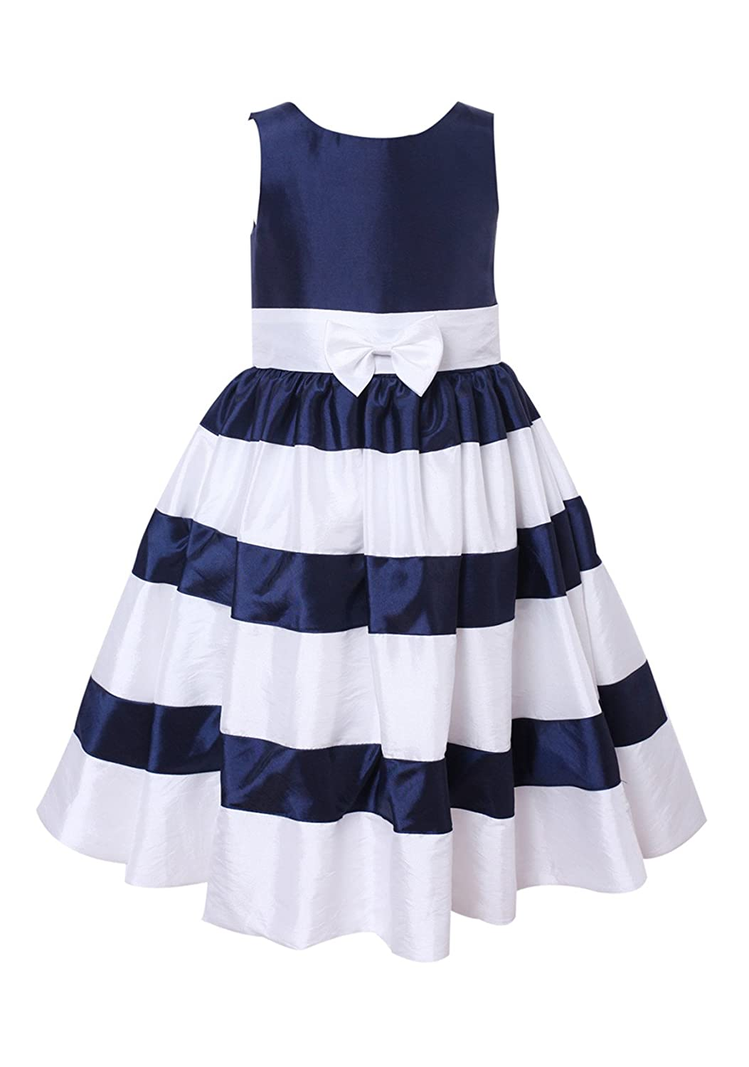 4c362e5b659 Amazon.com  princhar Ivory Navy Stripe Flower Girl Dress Little Girl  Toddler Formal Dress  Clothing