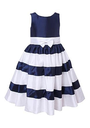 f5e7f62fadf princhar Ivory Navy Stripe Flower Girl Dress Little Girl Toddler Formal  Dress US 2T Navy