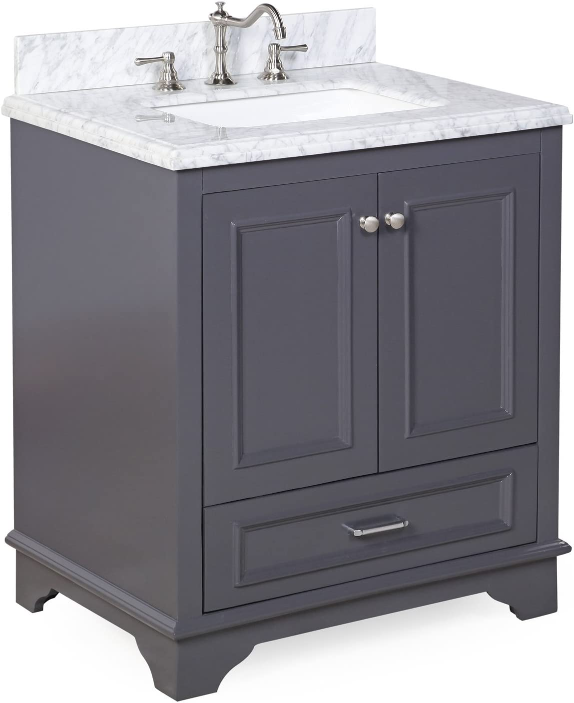 Nantucket 30-inch Bathroom Vanity Carrara Charcoal Gray Includes Charcoal Gray Cabinet with Soft Close Drawers Self Closing Doors, Authentic Italian Carrara Marble Top, and White Ceramic Sink
