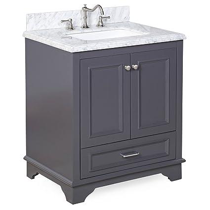 Nantucket Bathroom Vanity CarraraCharcoal Gray Amazoncom - Charcoal gray bathroom vanity