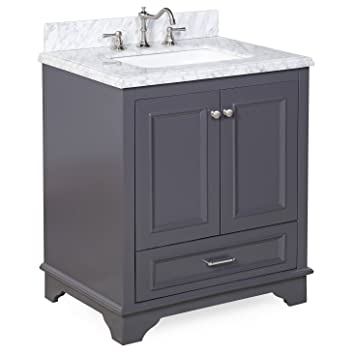 Nantucket 30 quot  Bathroom Vanity Carrara Charcoal Gray Amazon com