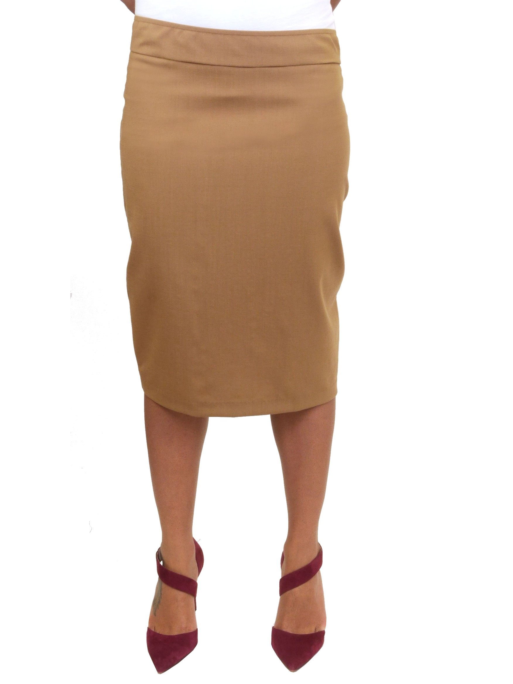 Wool Pencil Skirt (14, Camel)