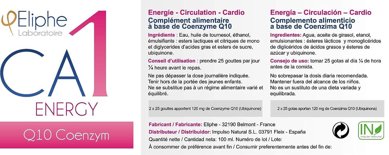 CA1 Q10 Eliphe: complemento alimenticio natural- Energía, Circulación y Funciones Cardiovasculares: Amazon.es: Salud y cuidado personal