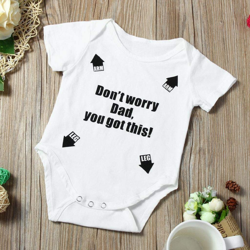 terbklf Newborn Infant Baby Girl Boy Summer Slim Short Sleeve Letter Romper Jumpsuit Outfits Clothes Baby Clothes Unisex