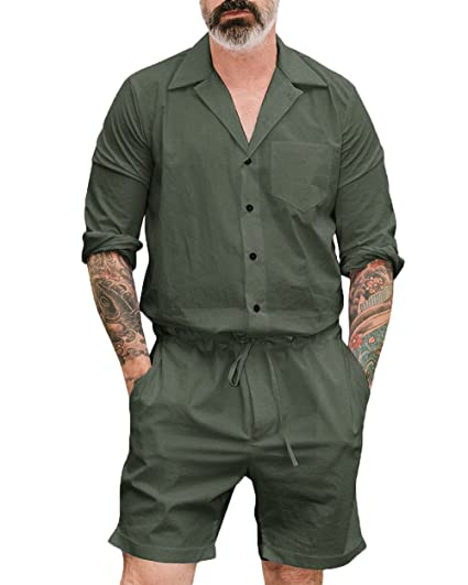 11e5d0c3b003 Lookwoild Mens Long Sleeve Romper Jumpsuit One Piece Overalls Casual Outfit  with Drawstring and Pockets (