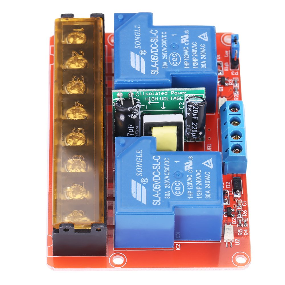 AC100V-250V 30A High Power 2-Channel Relay DC5V High-low Level Trigger Switch Module for Arduino