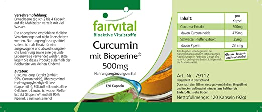 Curcumina + Piperina (Bioperine) 500mg - Extracto de Cúrcuma + Pimienta Negra - VEGANO - 95% de Curcuminoides - 120 Cápsulas - Calidad Alemana: Amazon.es: Salud y cuidado personal