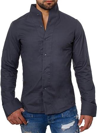 ReRock - Camisa Casual - Básico - Cuello Mao - Manga Larga - para Hombre Gris Oscuro Large: Amazon.es: Ropa y accesorios