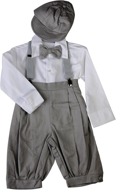 bimaro Joven Traje Joel gris claro Aspecto de Lino Niños Traje taufanzug Solemne Camisa Blanco Set cap mosca Tirantes boda Bautizo ocasión