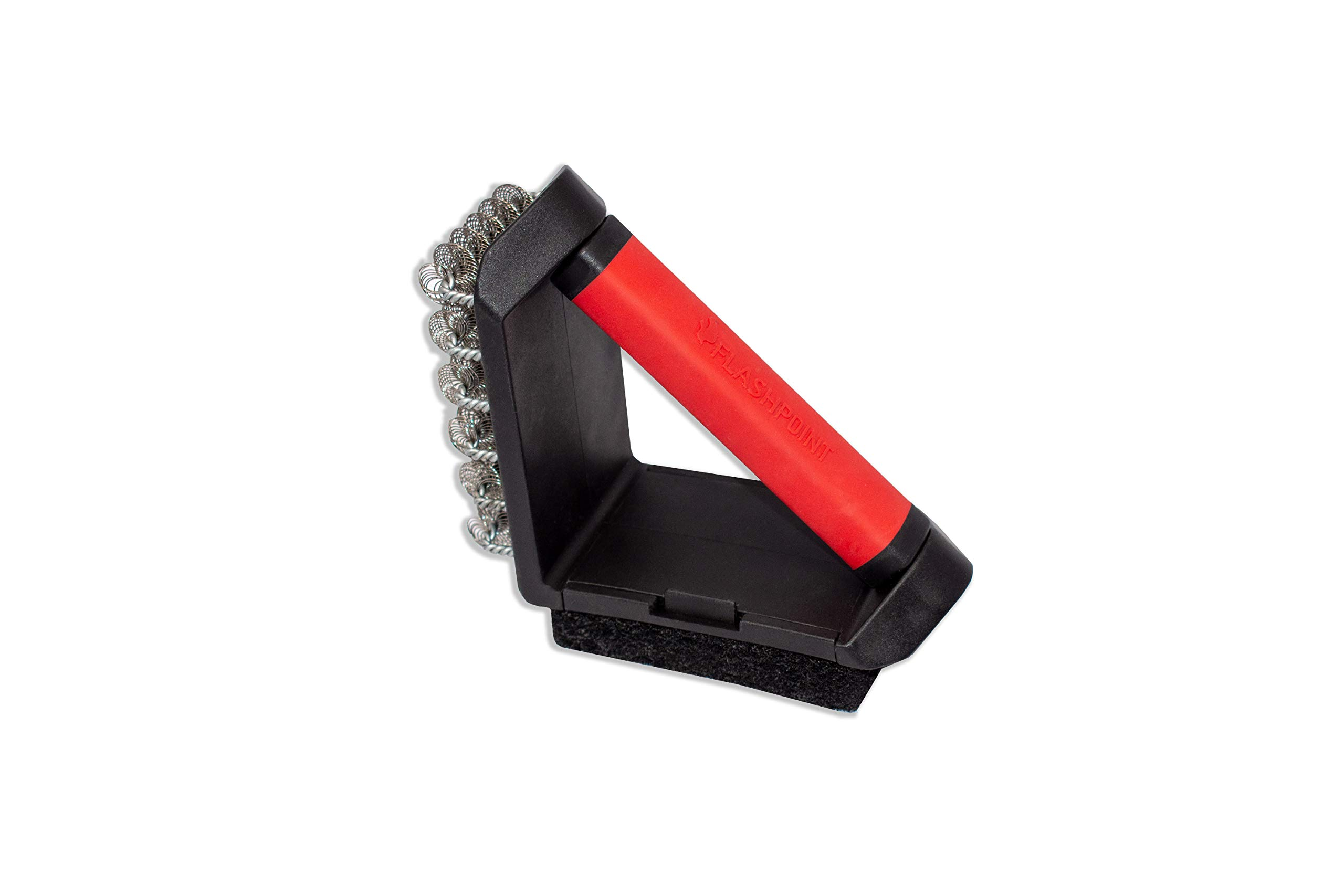 FLASHPOINT 8100-037 2-Way Cleaning Grill Brush, Black