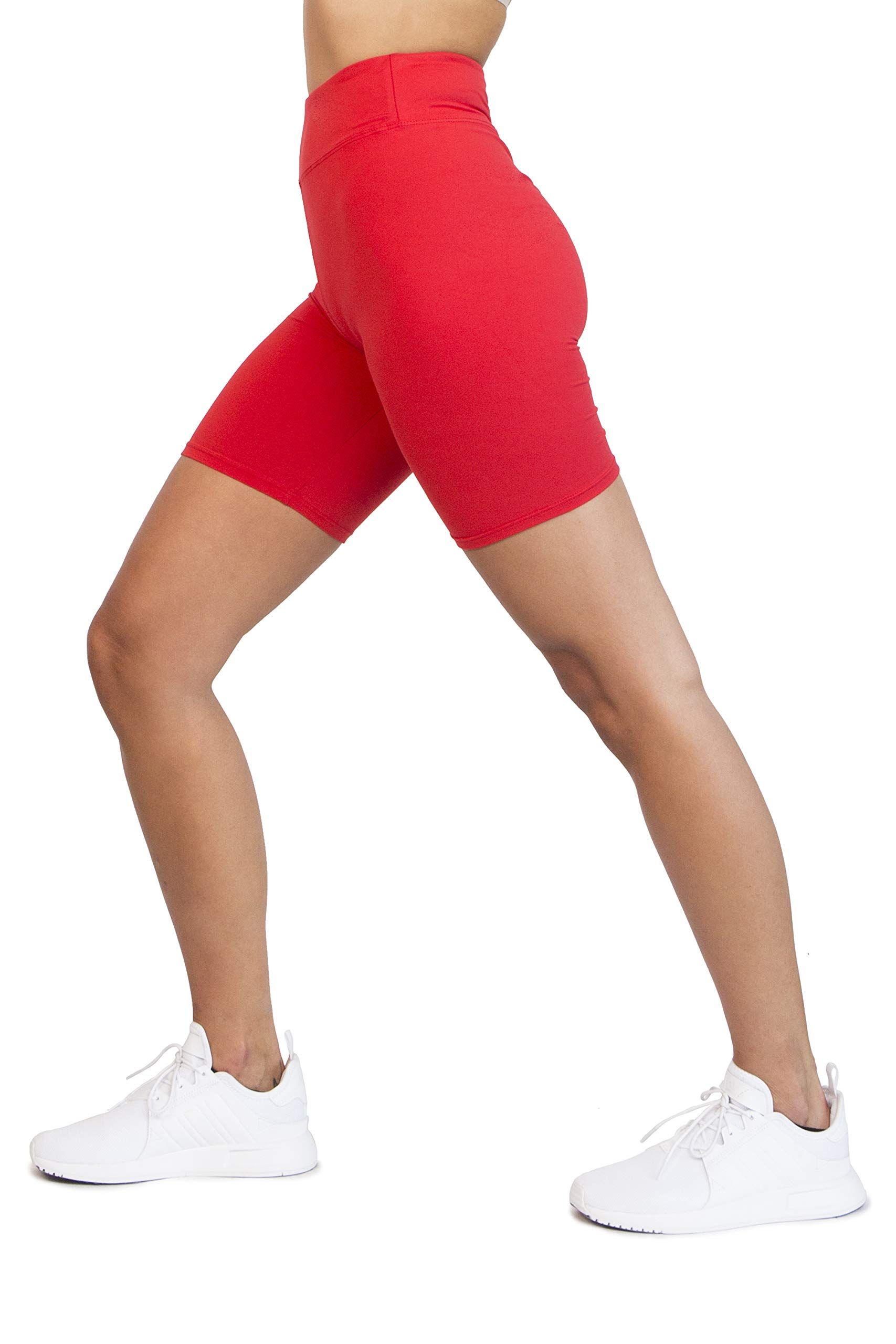 Ocommo Biker Shorts for Women High Waist (3 Inch), Great as Thigh Saver Shorts, Shorts for Under Dresses, or Biker Shorts Women - Small to Plus Size 2XL Red by OCOMMO