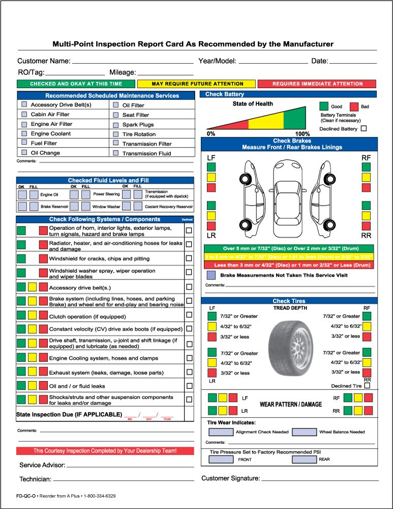 AmazonCom  Auto Repair Multi Point Inspection Forms  Part Ncr