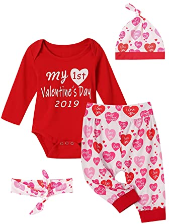 ecf621c526eb6 My First Valentine's Day Outfit Set Baby Girls Boy Cute Romper