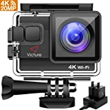 Action Cam 4k wifi Victure 20MP Impermeabile Profondità 40M Sports Action Camera con 2 Batterie e Caricatore Esterno, Anti-shaking e funzione Time Lapse Ideale per Snorkeling Diving Skating