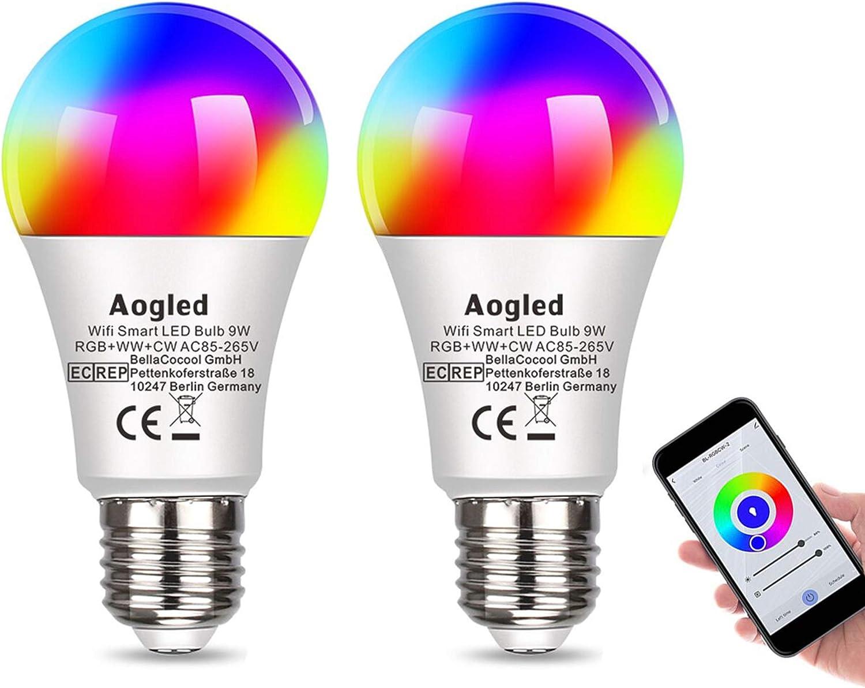 Bombilla Inteligente LED WiFi,Aogled E27 LED 9W Regulable,Alexa Bombillas LED RGBCW Mood con control remoto, funciona con Alexa y Google Home, no requiere concentrador,2.4Ghz Wi-Fi LED,paquete de 2