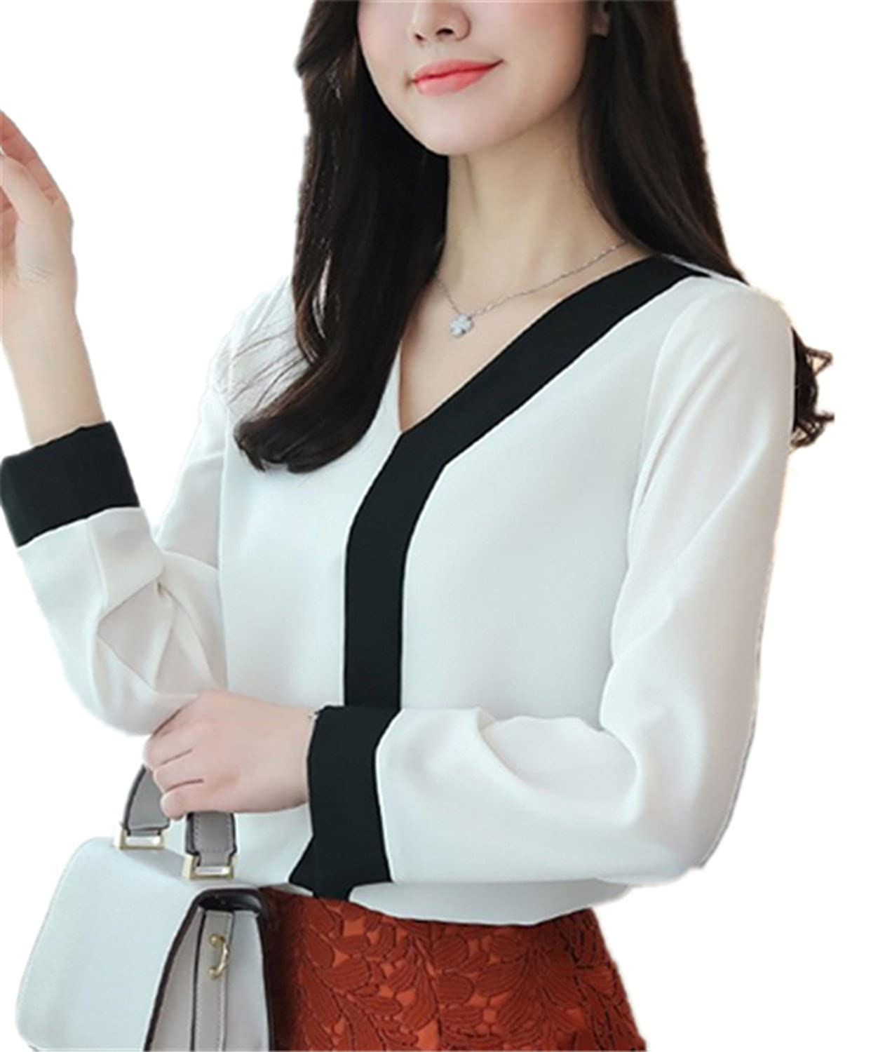 SDHEIJKY Office Chiffon Blouse Women Fashion V-Neck Long Sleeve Patchwork Shirt at Amazon Womens Clothing store: