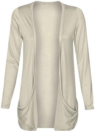 dbb85febe1 Fashion Wardrobe Womens Long Sleeves Drop Pocket Boyfriend Cardigan Ladies  Open Casual Tops 8-14