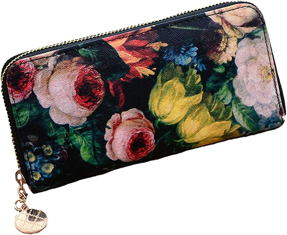 Aiklin Womens PU Leather Clutch Wallet Flower Floral Oil Painting Printed Purse