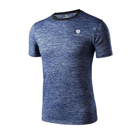 Camiseta de manga corta Hombre Polainas de entrenamiento para hombre Fitness Sports Gym Running Yoga Camisa atlética Top Blusa LMMVP (Azul, M)