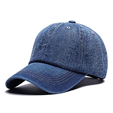 Angelsweet Unisex Casual Cotton Denim Baseball Cap Classic Jean Hat Plain  Washed Sports Dad Hat Adjustable Polo Style Blue at Amazon Men s Clothing  store  d4857e24633
