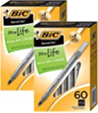 BIC Round Stic Xtra Valve Smooth Writing Ball Pen, Medium Point (1.0 mm), Black - 60 Count x 2 Pack - Total 120 Pens