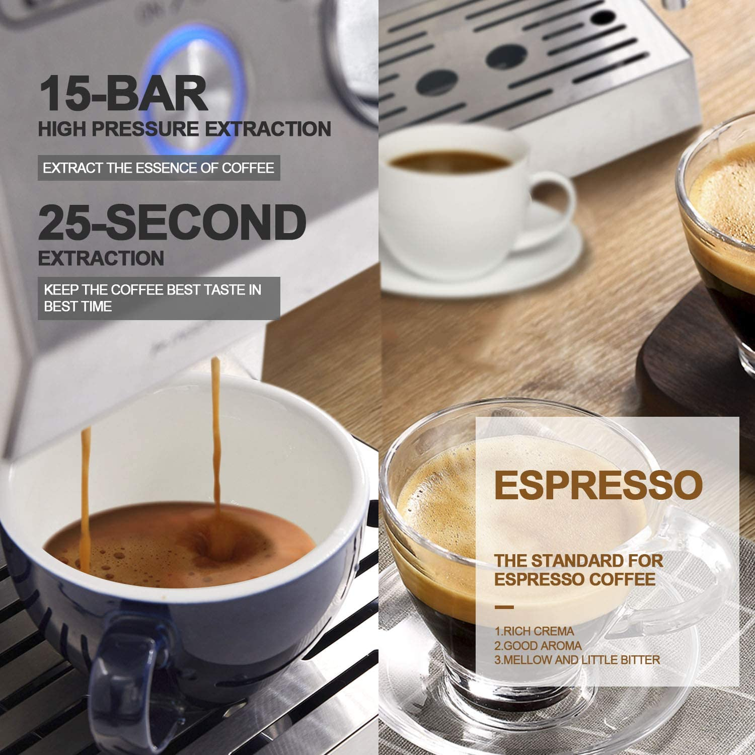 Espresso Machine, Coffee Machine with 15 bar Pump Powerful Pressure Coffee Brewer, Coffee maker with Milk Frother Wand for Cappuccino Latte and Mocha, ...
