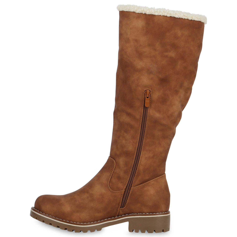 Gefütterte Damen Stiefel Flache Winterstiefel Kunstpelz Boots Schuhe 126975 Braun 39 Flandell i5KU3Tz