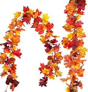 2 Pack Fall Thanksgiving Decorations Maple Leaf Fall Garland,Total 11.8Ft Artificial Hanging Vine Plants Autumn Harvest Seasonal Maple Wreath for Indoor Outdoor Decor Home Party Holiday Christmas