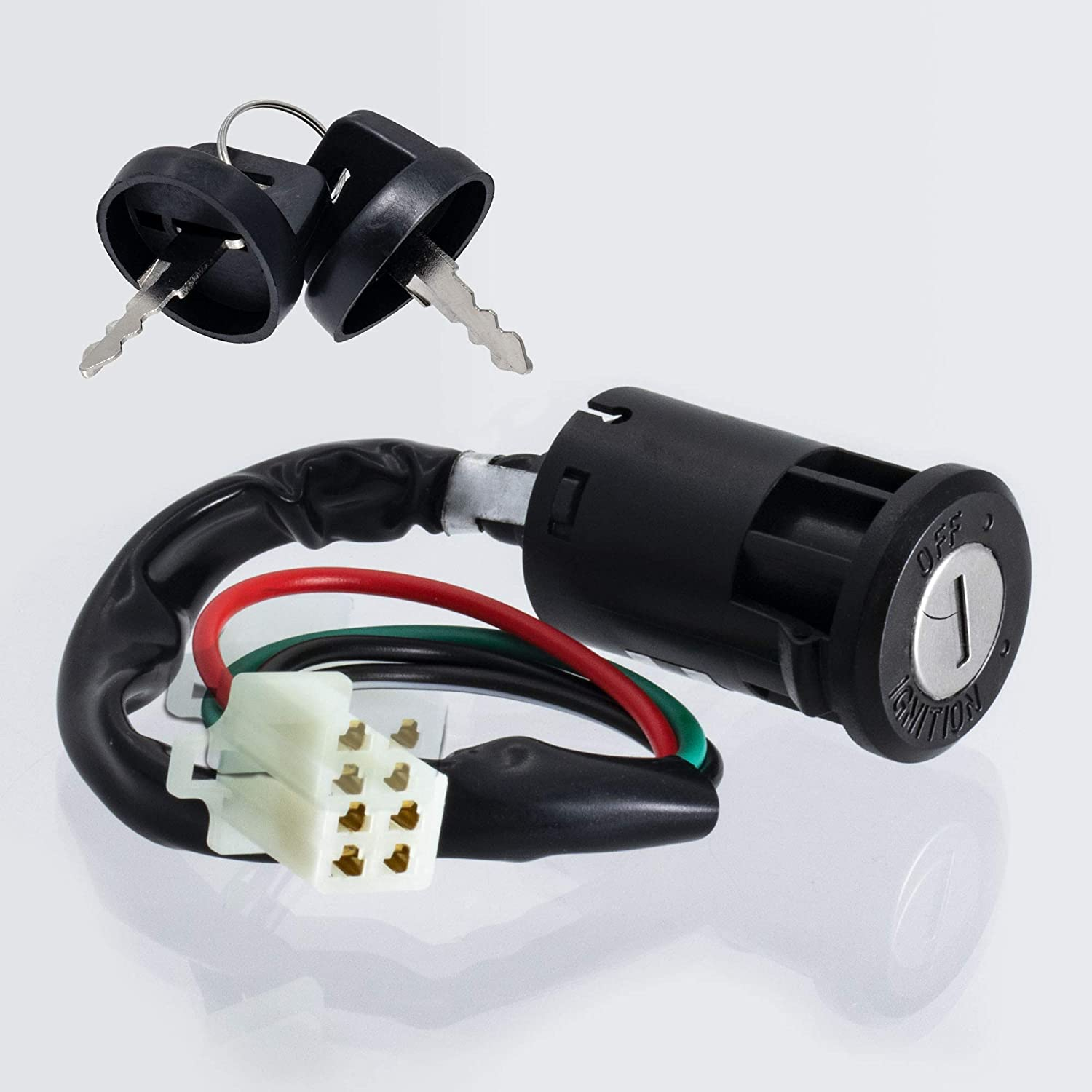 Minireen 4 Wires Ignition Switch Key Set with Cap for 50cc 70cc 90cc 110cc 125cc 150cc 200cc 250cc TaoTao SUNL ATV Dirt Bike Electric Scooter