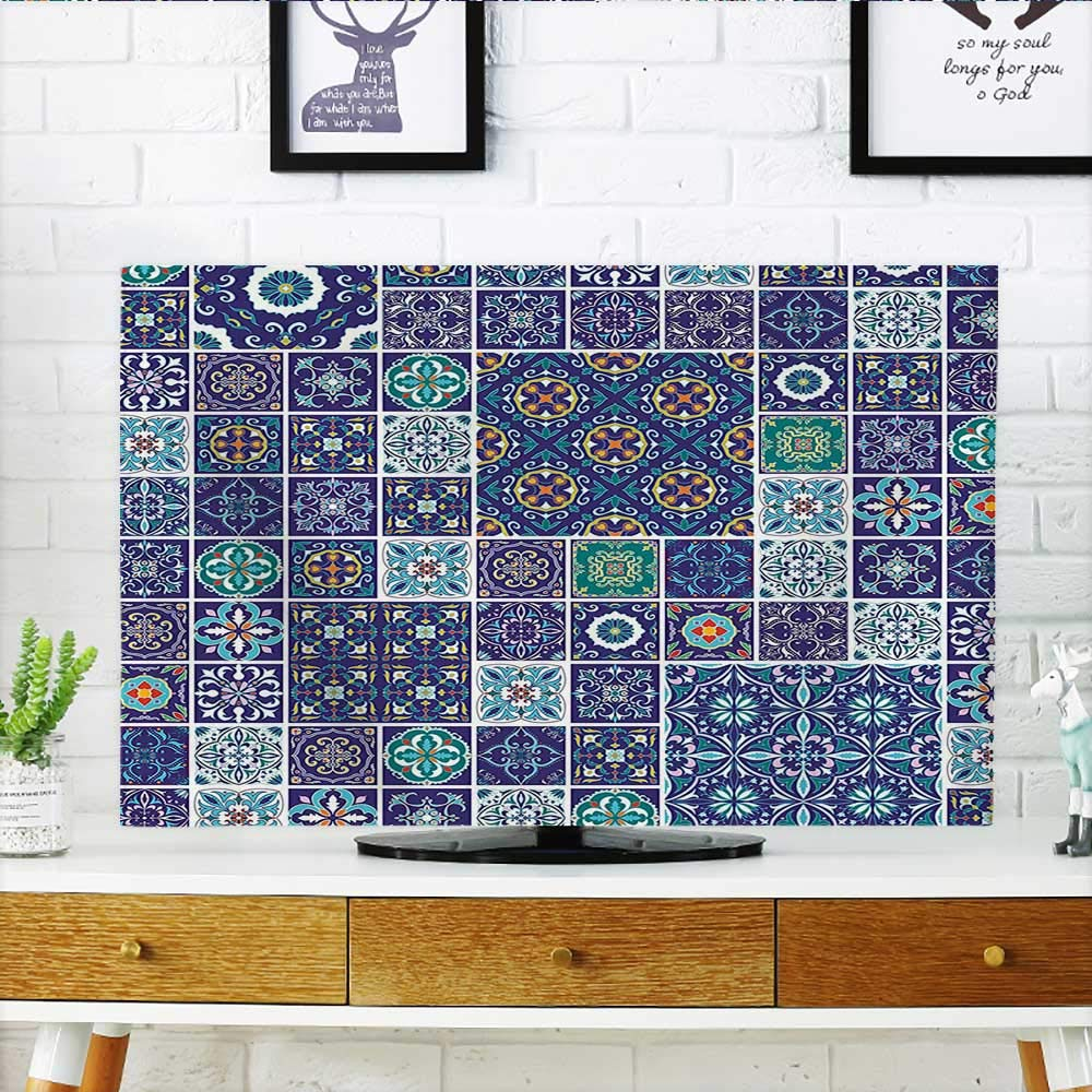 tv dust Cover Mosaic Azulejo Portuguese Cultural Ceramic Tiles Folk Design Teal Indigo Navy Blue Dust Resistant Television Protector W20 x H40 INCH/TV 40''-43''