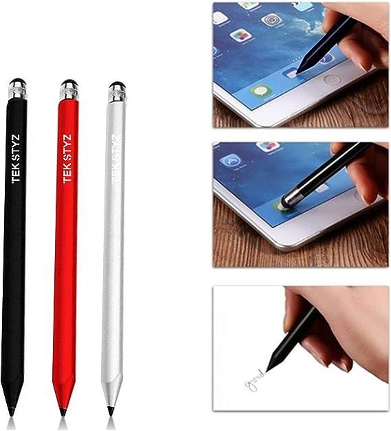 Writing Pen with Ink for Xiaomi Mi 9! 3 Pack - Silver Red Black Tek Styz PRO Custom Stylus