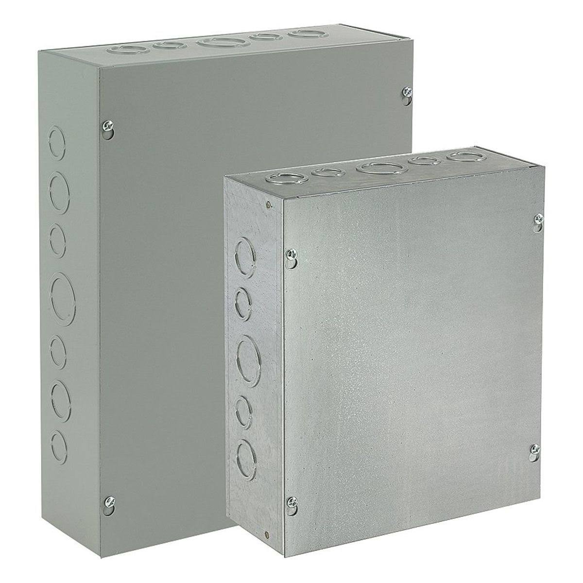 Hoffman ASE6X6X4 Pull Box, Screw Cover with Knockouts, Steel, 6'' x 6'' x 4'', Gray