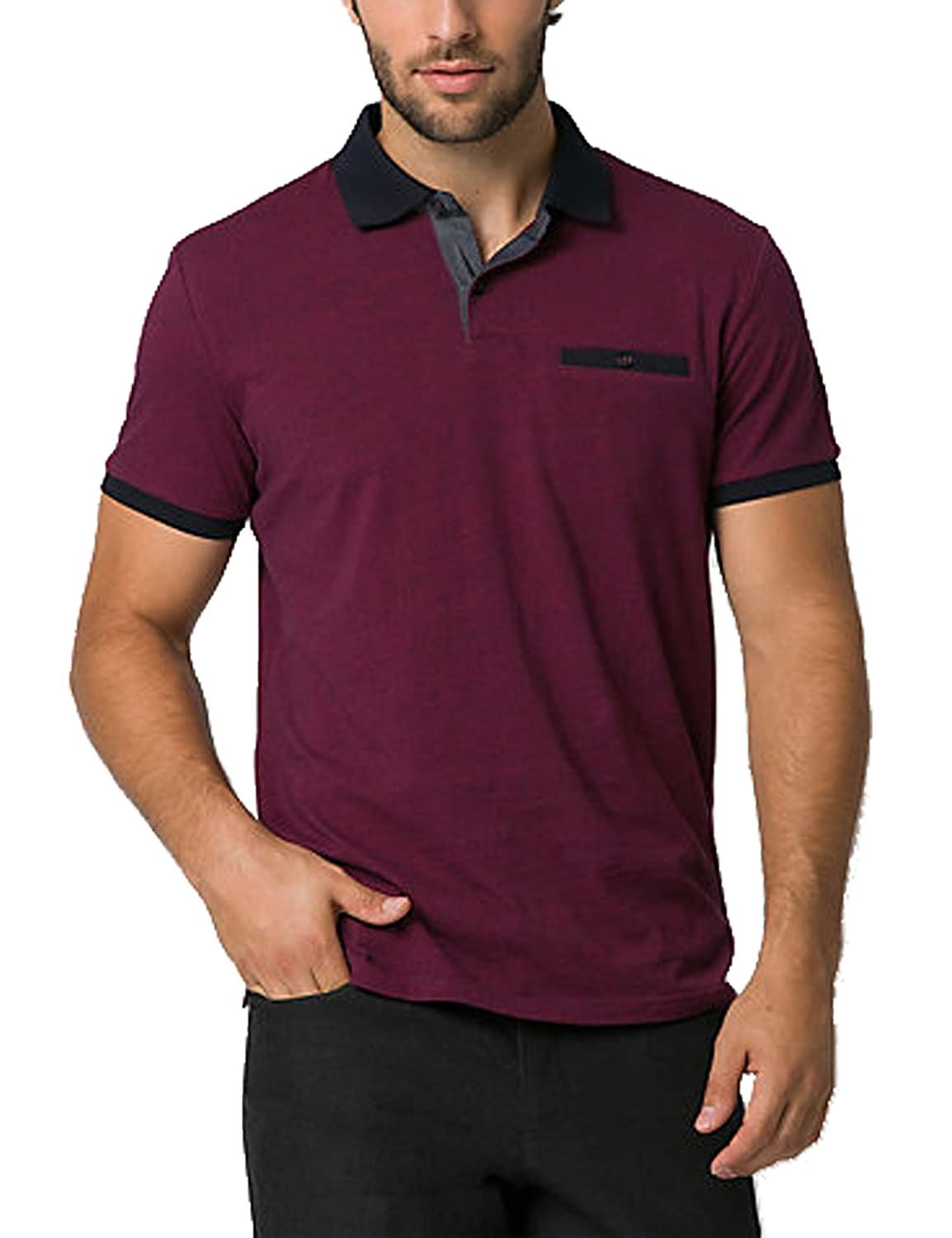 9f3a5df59 DESIGN  Short-sleeve performance polo shirt with two-button placket and  Contrast Color