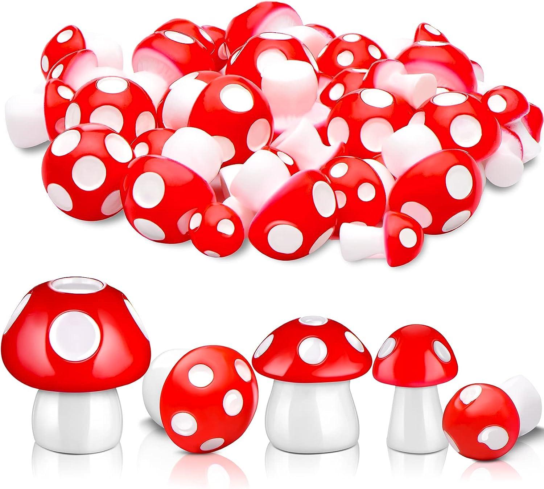 50 Pieces Cute Mushrooms Miniature Figurines Mini Garden Mushrooms Ornaments Mushroom Model Fairy Garden Miniature Statue Landscape DIY Craft for Home Party Decoration Supplies