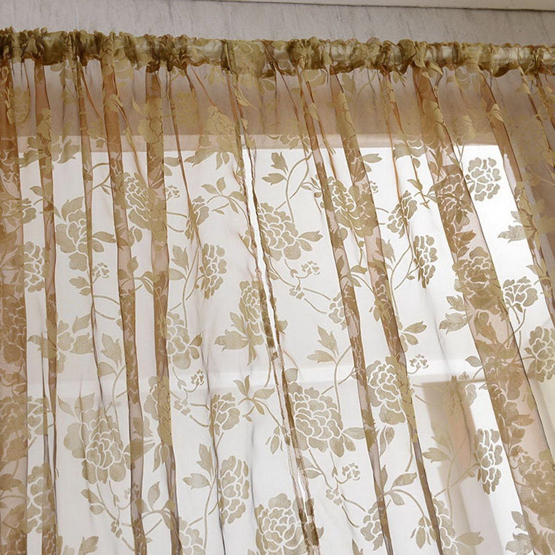 Hoomall Solid Sheer Window Curtains Drape Panels Window Treatment Light Transmission Floral Embroidered 100x200cm 1 Panel Brown Ourstory