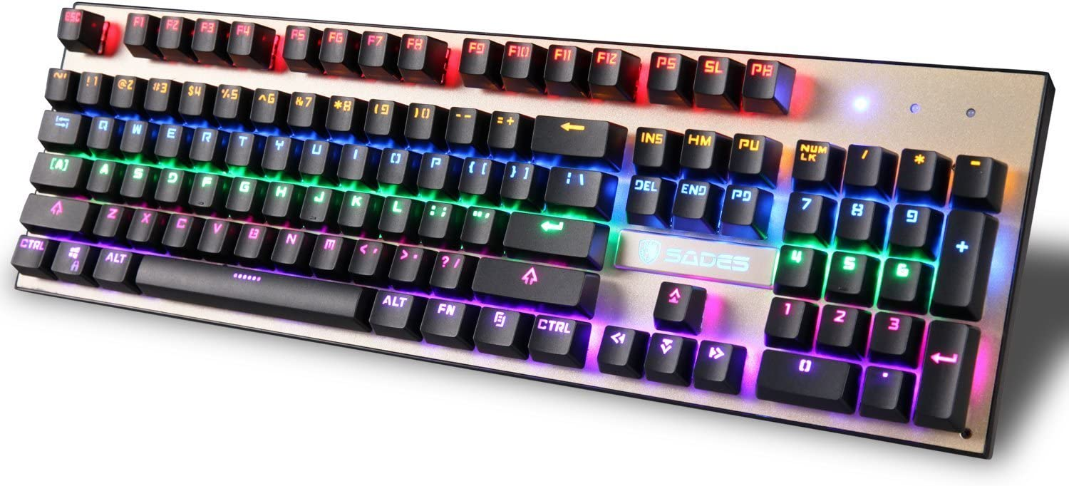 SADES K10 Mechanical Gaming Keyboard 104 Keys RGB Backlit Mechanical Wire Gaming Keyboard Colorful LED 7 Switchable Backlight Colors,19 Non-conflict Keys, Metal Material Black
