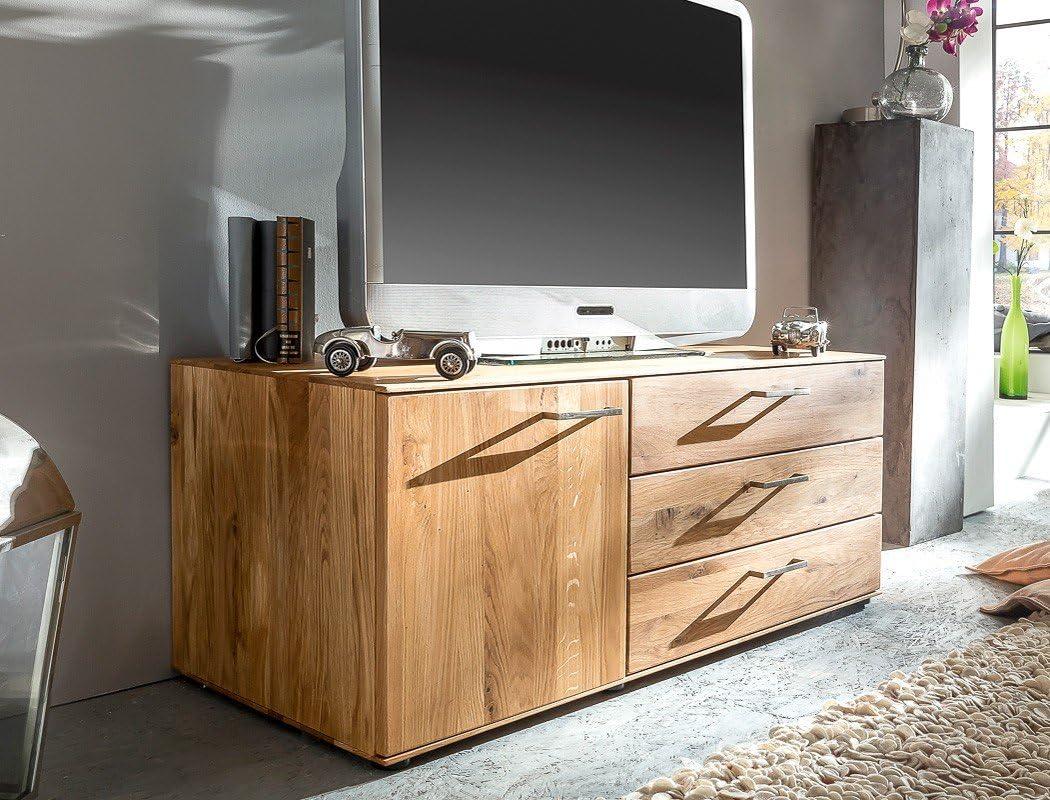 Mueble de madera maciza de roble Curtis 120 x 48 x 50 cm TV ...