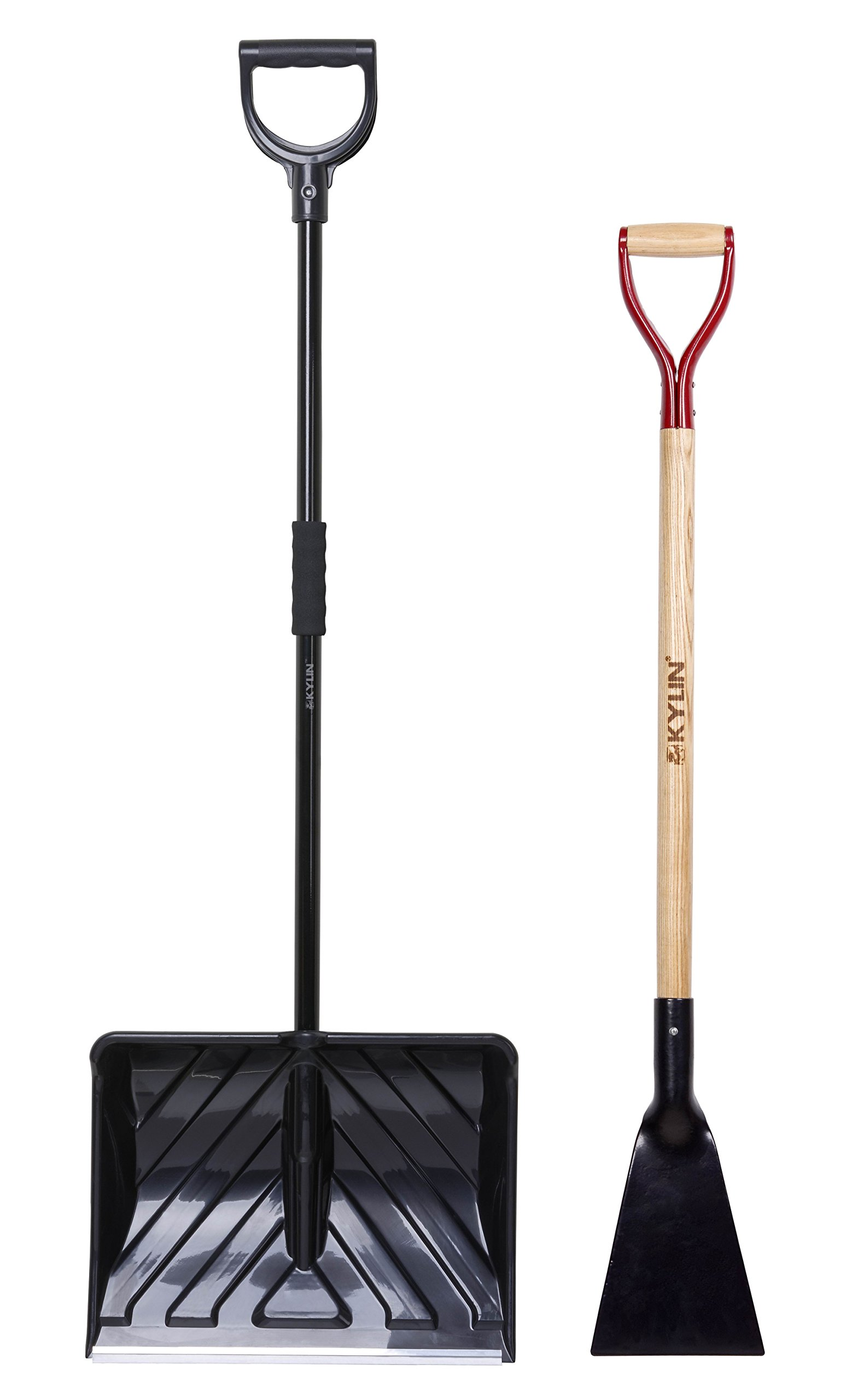 KYLIN Snow Shovel Removal Tools Set- Include 18'' Snow Pusher/7'' Forged Ice Scraper by