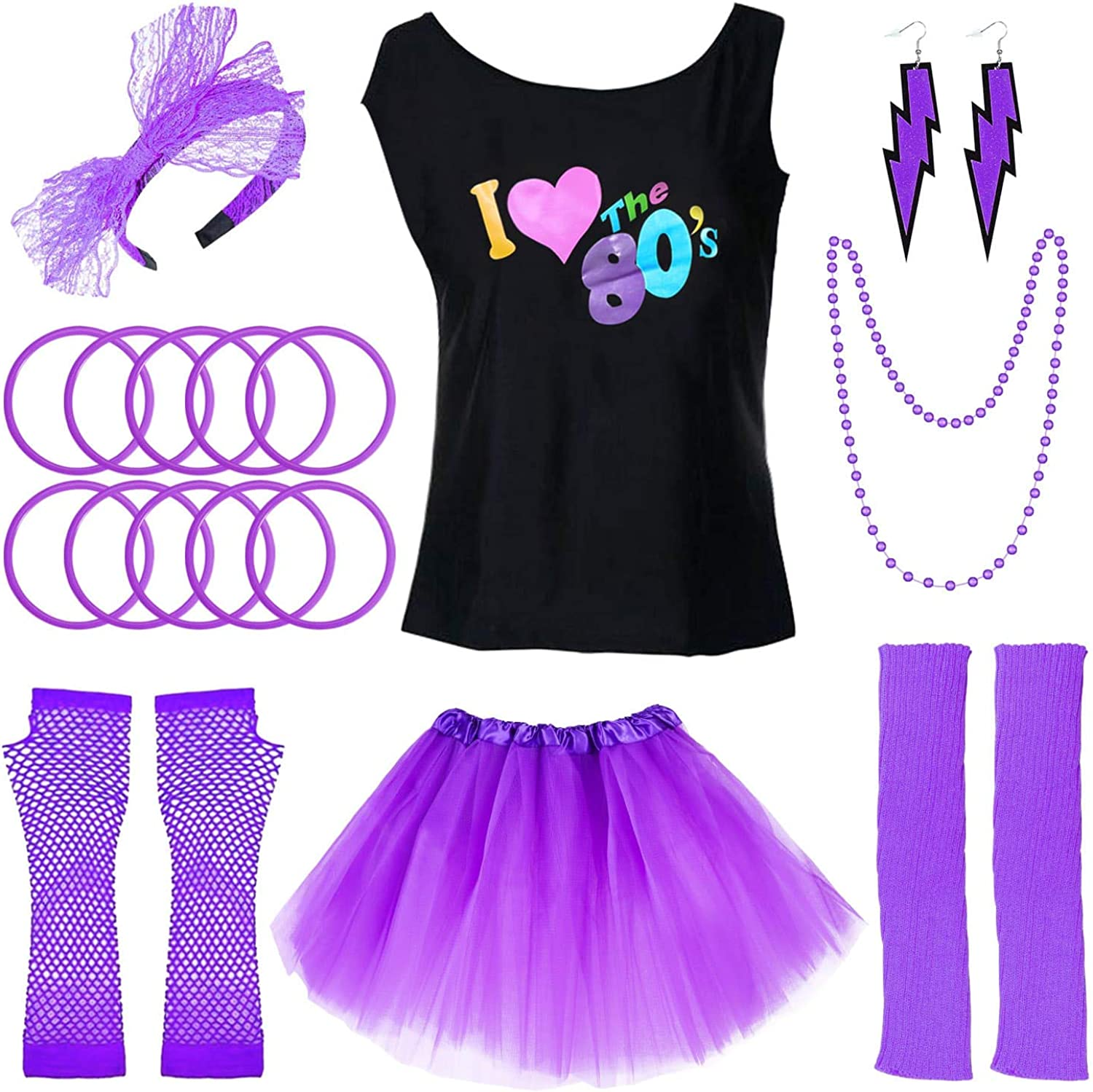 Jetec 80s Costume Accessories Set I Love 80s Skirt Necklace Bangle Leg Warmers Earrings Gloves T-Shirt for Party Accessory
