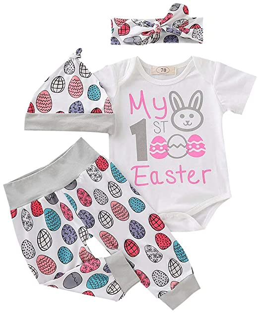 f2e7153cf3b3 Amazon.com: EGELEXY Newborn Baby Girl Boy My First Easter Bunny Onesie  Bodysuit Tops Outfit+Eggs Pants Hat Headband Clothes Set: Clothing