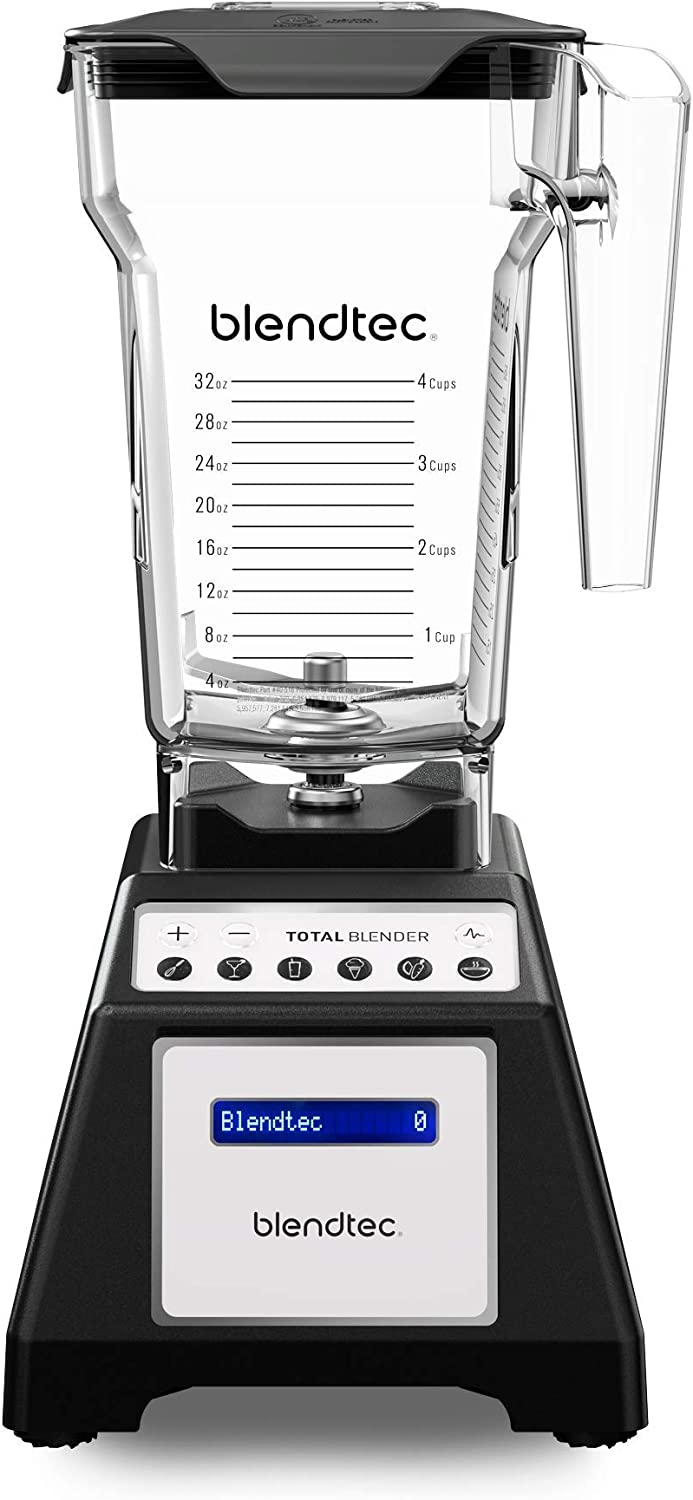 Blendtec Total Classic Original Blender - FourSide Jar (75 oz) - Professional-Grade Power - 6 Pre-programmed Cycles - 10-speeds - Black (Renewed)