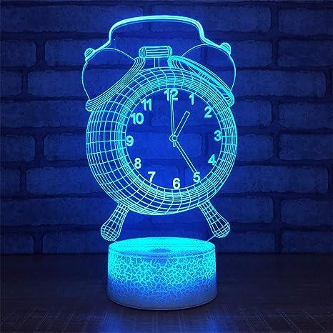 Despertador 3D Usb Lámpara Led 7 Cambio de color Ilusión Visual 3D Luz de noche para