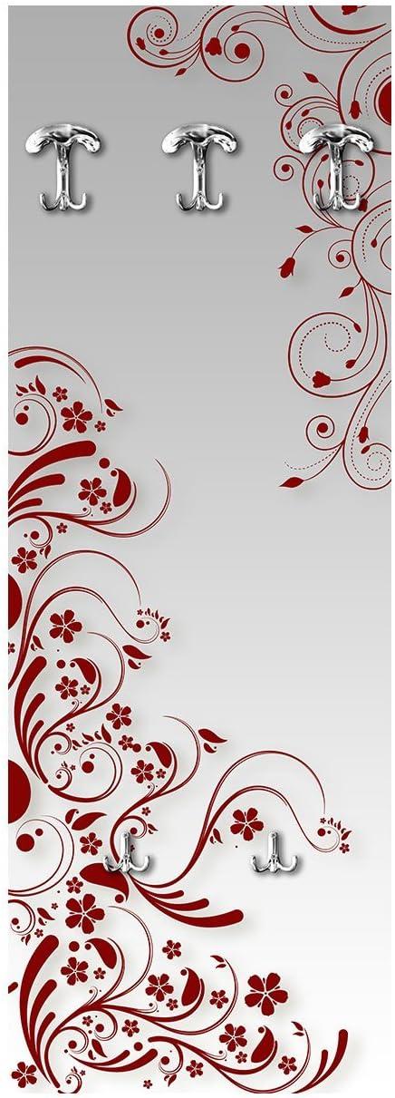 Appendiabite da Parete in Legno 3 Ganci 2 Portaborse Vezzani Modern Flowers Red