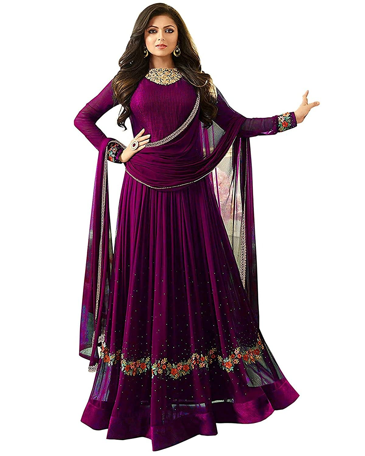 8cf211dbc969 Misha Fashion Women s Faux Georgette Anarkali Gown  Amazon.in  Clothing    Accessories