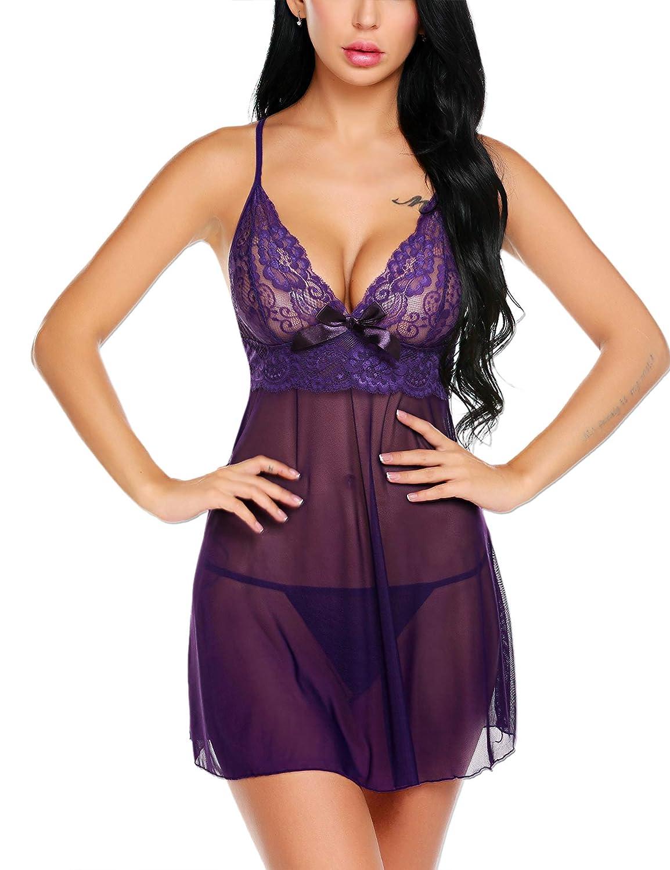 wearella Women Lingerie Strap Babydoll Lace Chemise Halter Nightie Sleepwear