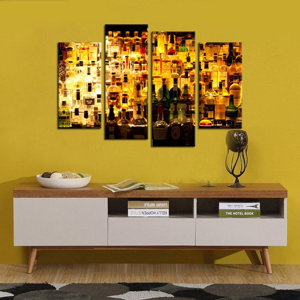 Amazon.com: Kreative Arts - 4 Pieces Canvas Prints Various Liquor ...