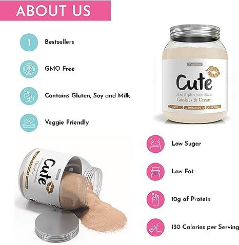 Cute Nutrition Chocolate y Galletas con Crema 2 Batidos Sustitutivos de Comida Para el Control de la Pérdida de Peso Para Mujeres 2 Botes de 500g: Amazon.es: Salud y cuidado personal