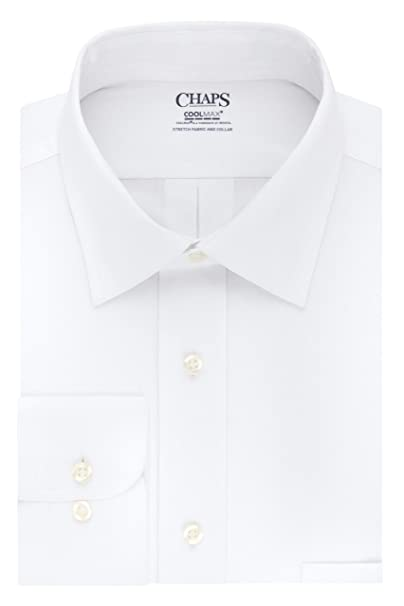 Chaps Mens Dress Shirts Regular Fit Stretch Collar Solid, White ...